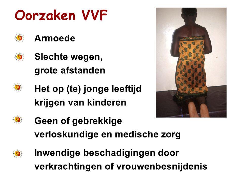 Oorzaken VVF Armoede Slechte wegen, grote afstanden Het op (te) jonge leeftijd krijgen van kinderen Geen of gebrekkige verloskundige en medische zorg