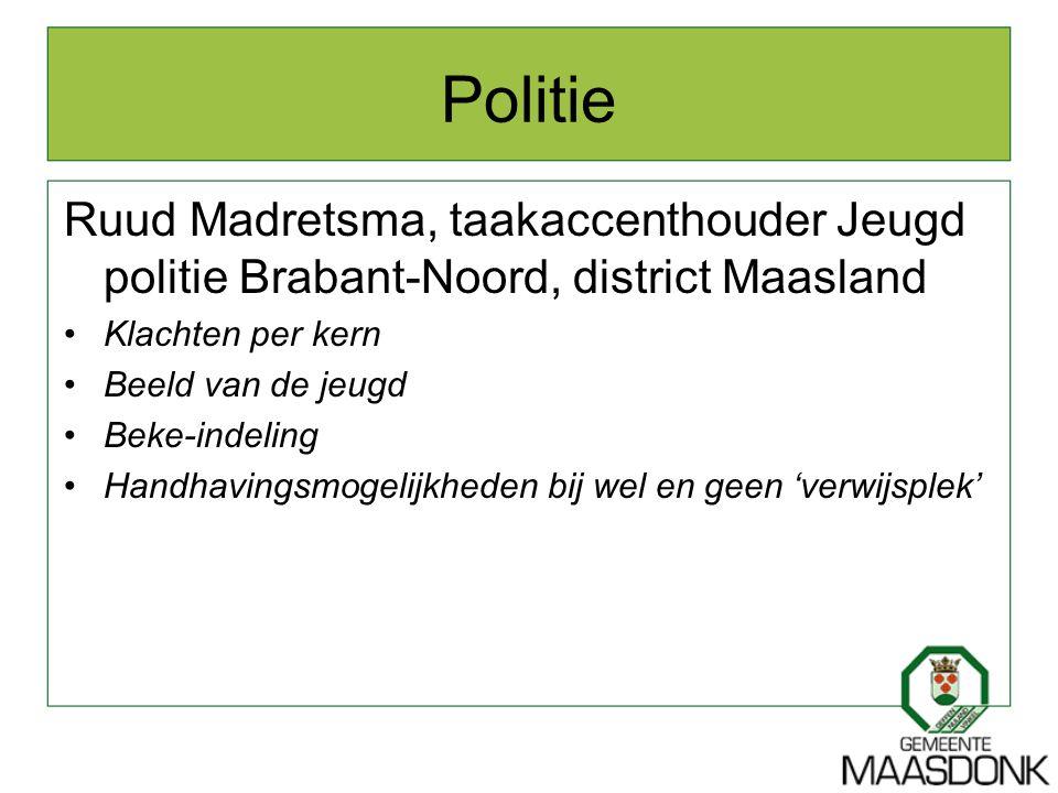 Politie Ruud Madretsma, taakaccenthouder Jeugd politie Brabant-Noord, district Maasland Klachten per kern Beeld van de jeugd Beke-indeling Handhavings