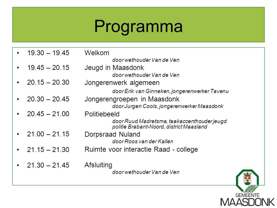 Programma 19.30 – 19.45 19.45 – 20.15 20.15 – 20.30 20.30 – 20.45 20.45 – 21.00 21.00 – 21.15 21.15 – 21.30 21.30 – 21.45 Welkom door wethouder Van de
