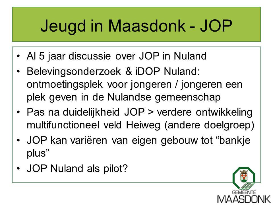 Jeugd in Maasdonk - JOP Al 5 jaar discussie over JOP in Nuland Belevingsonderzoek & iDOP Nuland: ontmoetingsplek voor jongeren / jongeren een plek gev