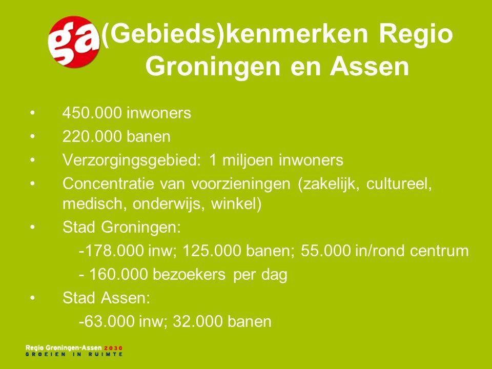 (Gebieds)kenmerken Regio Groningen en Assen 450.000 inwoners 220.000 banen Verzorgingsgebied: 1 miljoen inwoners Concentratie van voorzieningen (zakel