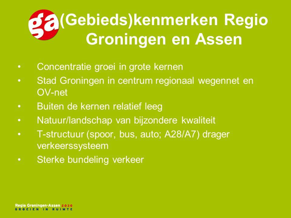 Concentratie groei in grote kernen Stad Groningen in centrum regionaal wegennet en OV-net Buiten de kernen relatief leeg Natuur/landschap van bijzonde