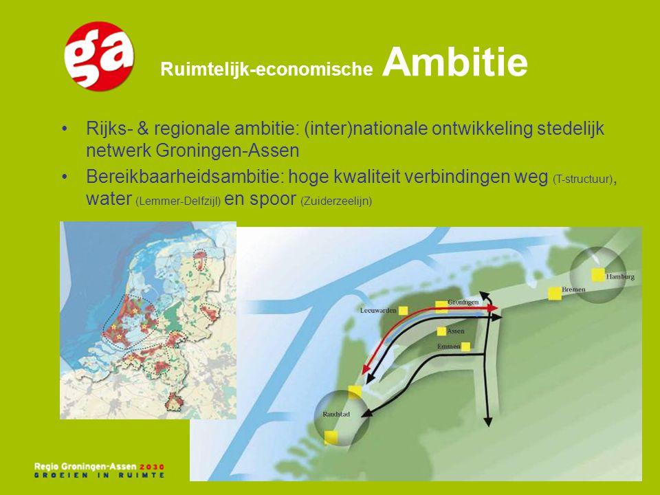 Ruimtelijk-economische Ambitie Rijks- & regionale ambitie: (inter)nationale ontwikkeling stedelijk netwerk Groningen-Assen Bereikbaarheidsambitie: hog