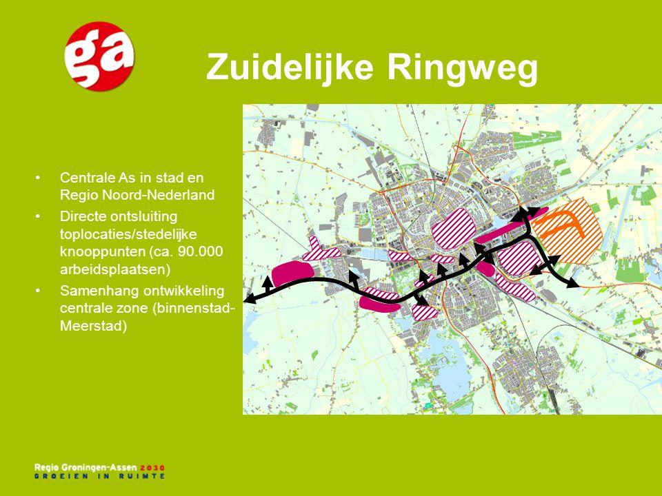 Centrale As in stad en Regio Noord-Nederland Directe ontsluiting toplocaties/stedelijke knooppunten (ca. 90.000 arbeidsplaatsen) Samenhang ontwikkelin
