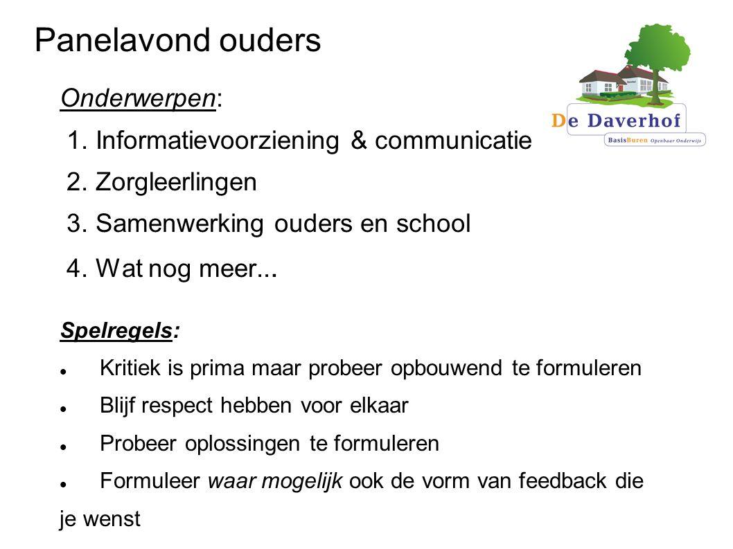 Panelavond ouders Onderwerpen: 1.Informatievoorziening & communicatie 2.