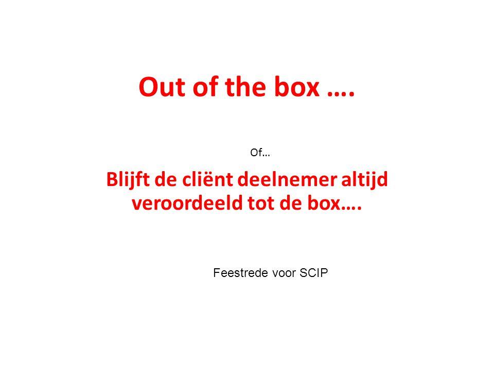 Out of the box …. Blijft de cliënt deelnemer altijd veroordeeld tot de box….