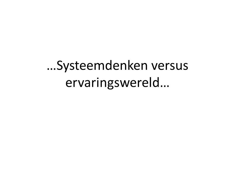 …Systeemdenken versus ervaringswereld…