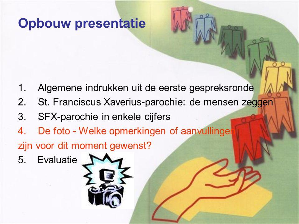 Opbouw presentatie 1.Algemene indrukken uit de eerste gespreksronde 2.St.