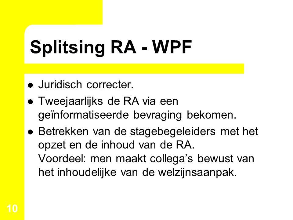 Splitsing RA - WPF Juridisch correcter. Tweejaarlijks de RA via een geïnformatiseerde bevraging bekomen. Betrekken van de stagebegeleiders met het opz