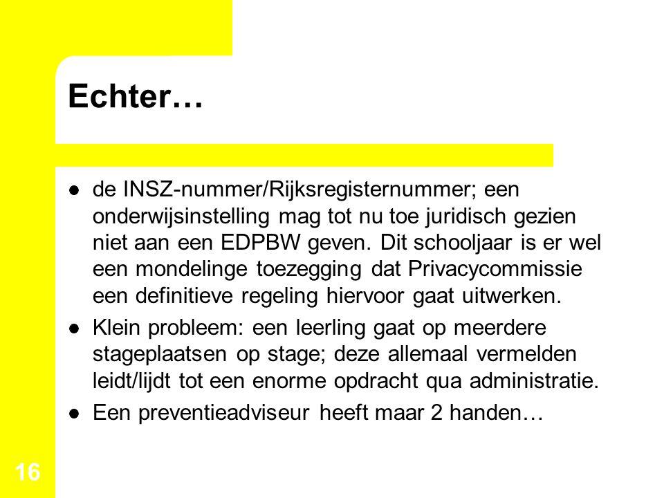 Echter… de INSZ-nummer/Rijksregisternummer; een onderwijsinstelling mag tot nu toe juridisch gezien niet aan een EDPBW geven. Dit schooljaar is er wel