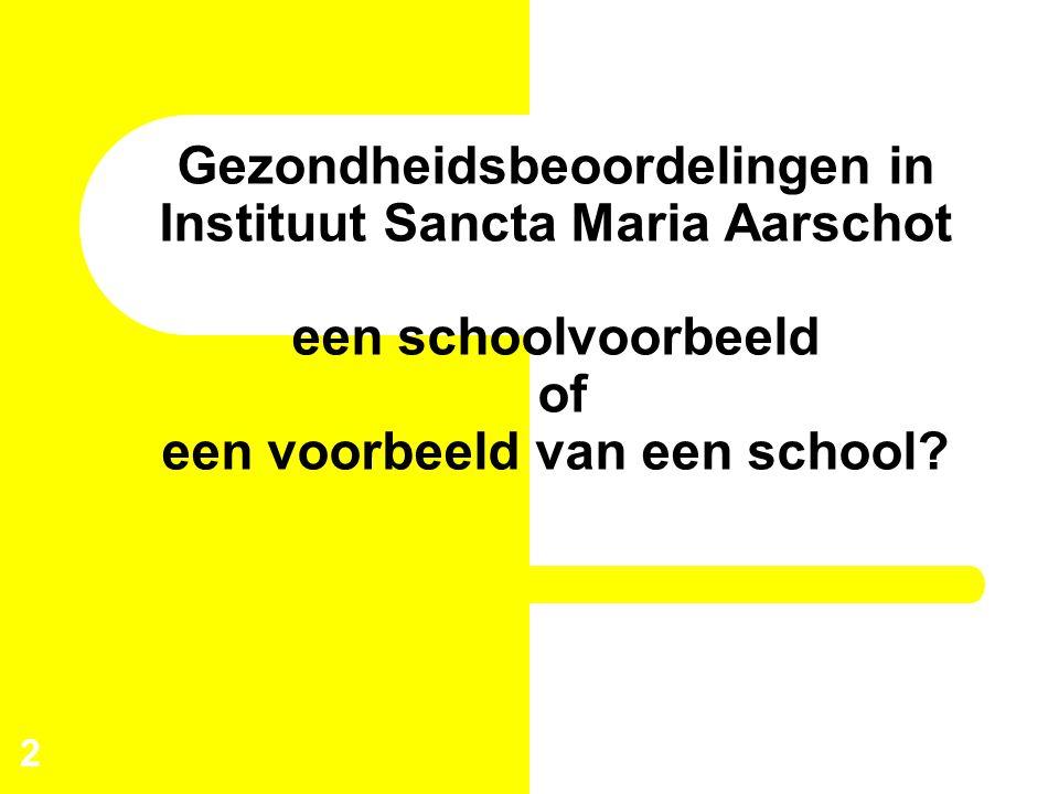 Gezondheidsbeoordelingen in Instituut Sancta Maria Aarschot een schoolvoorbeeld of een voorbeeld van een school? 2