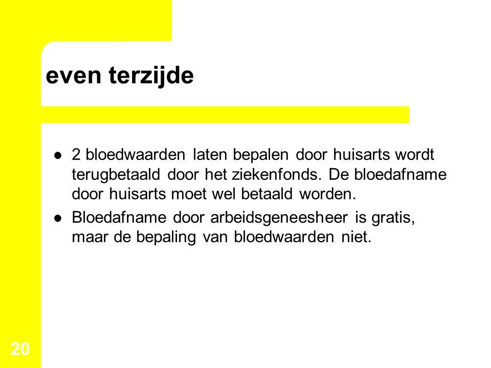 even terzijde 2 bloedwaarden laten bepalen door huisarts wordt terugbetaald door het ziekenfonds. De bloedafname door huisarts moet wel betaald worden