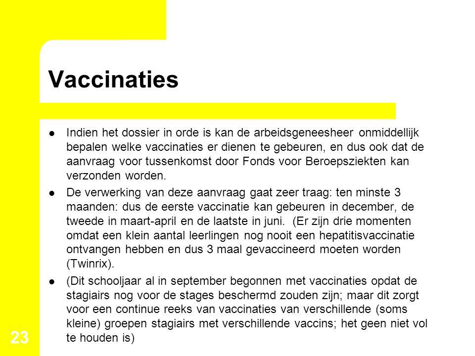 Vaccinaties Indien het dossier in orde is kan de arbeidsgeneesheer onmiddellijk bepalen welke vaccinaties er dienen te gebeuren, en dus ook dat de aan