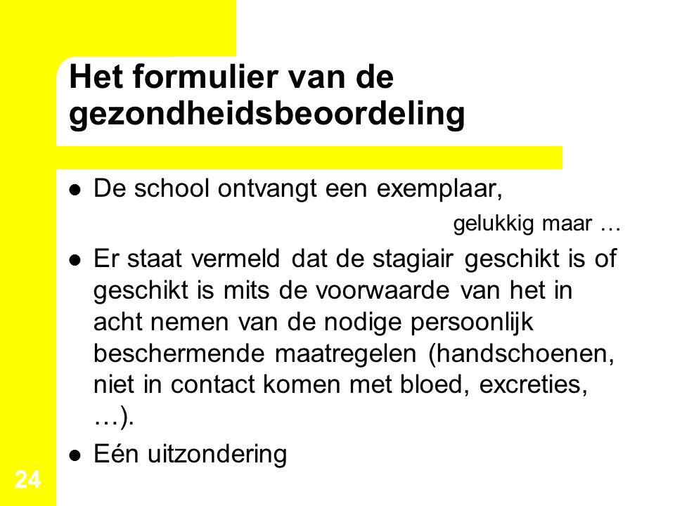 Het formulier van de gezondheidsbeoordeling De school ontvangt een exemplaar, gelukkig maar … Er staat vermeld dat de stagiair geschikt is of geschikt