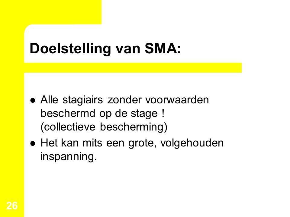 Doelstelling van SMA: Alle stagiairs zonder voorwaarden beschermd op de stage ! (collectieve bescherming) Het kan mits een grote, volgehouden inspanni
