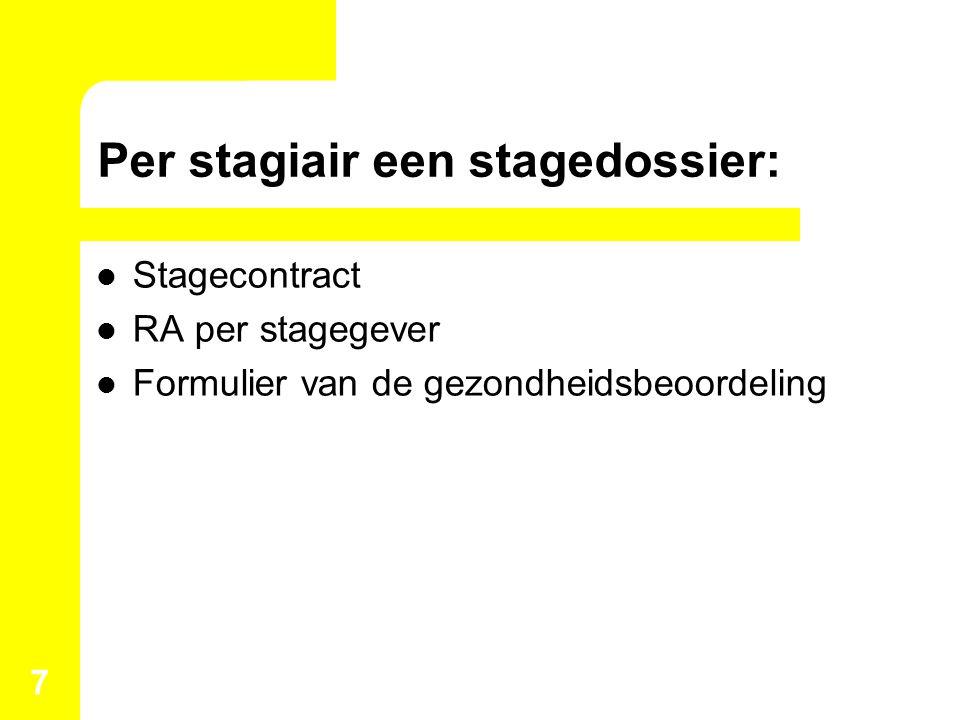 Per stagiair een stagedossier: Stagecontract RA per stagegever Formulier van de gezondheidsbeoordeling 7