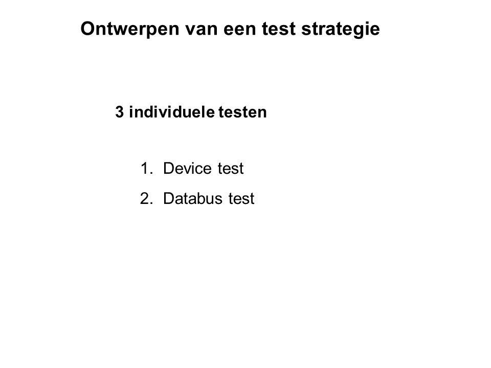 Ontwerpen van een test strategie 3 individuele testen 1. Device test 2. Databus test