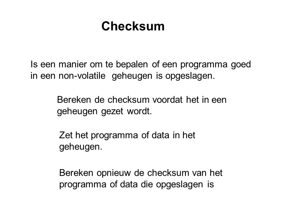 Checksum Is een manier om te bepalen of een programma goed in een non-volatile geheugen is opgeslagen.