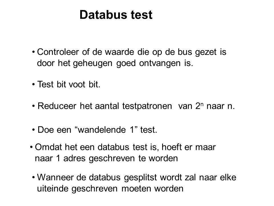 Databus test Controleer of de waarde die op de bus gezet is door het geheugen goed ontvangen is.