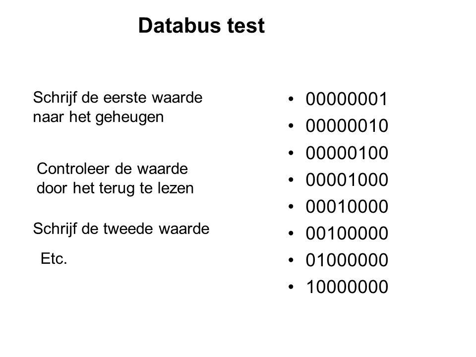 Databus test 00000001 00000010 00000100 00001000 00010000 00100000 01000000 10000000 Schrijf de eerste waarde naar het geheugen Controleer de waarde door het terug te lezen Schrijf de tweede waarde Etc.