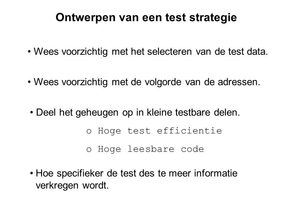 Ontwerpen van een test strategie Wees voorzichtig met het selecteren van de test data.