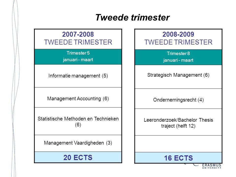 Tweede trimester 2007-2008 TWEEDE TRIMESTER Trimester 5 januari - maart Informatie management (5) Management Accounting (6) Statistische Methoden en T