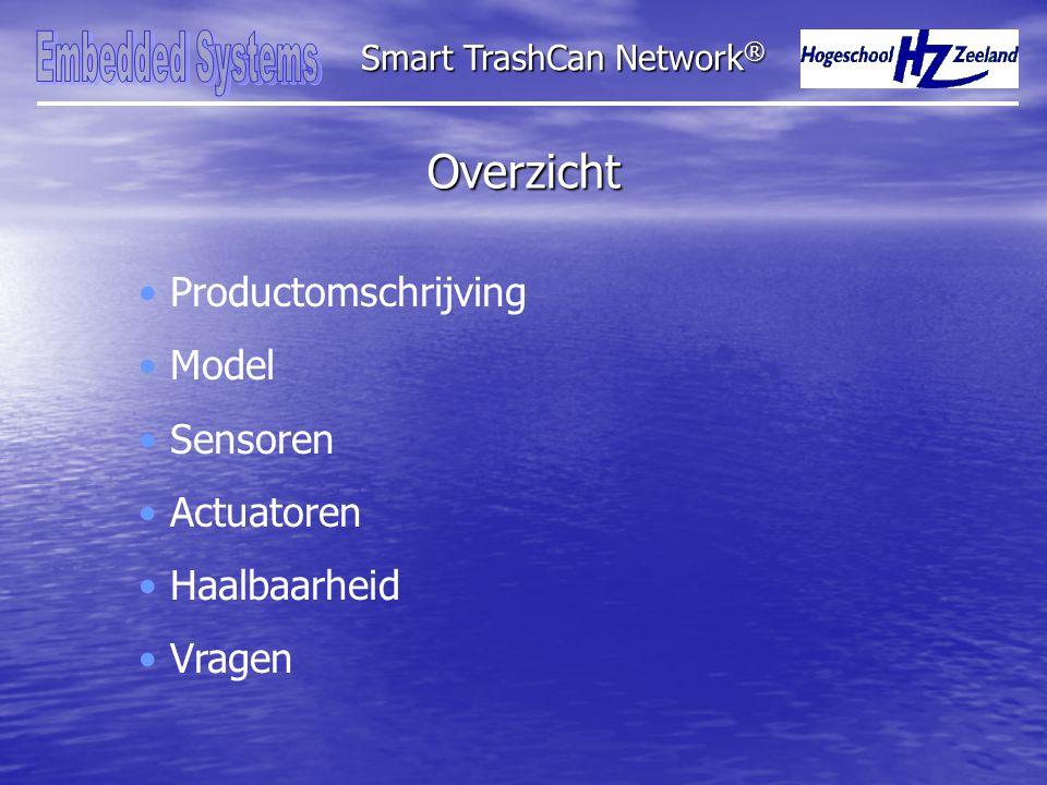 Overzicht Smart TrashCan Network ® Productomschrijving Model Sensoren Actuatoren Haalbaarheid Vragen