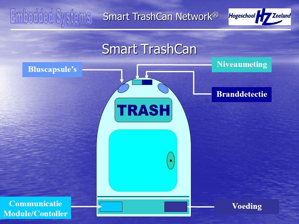 Smart TrashCan Smart TrashCan Network ® Bluscapsule's Niveaumeting Branddetectie Voeding Communicatie Module/Contoller