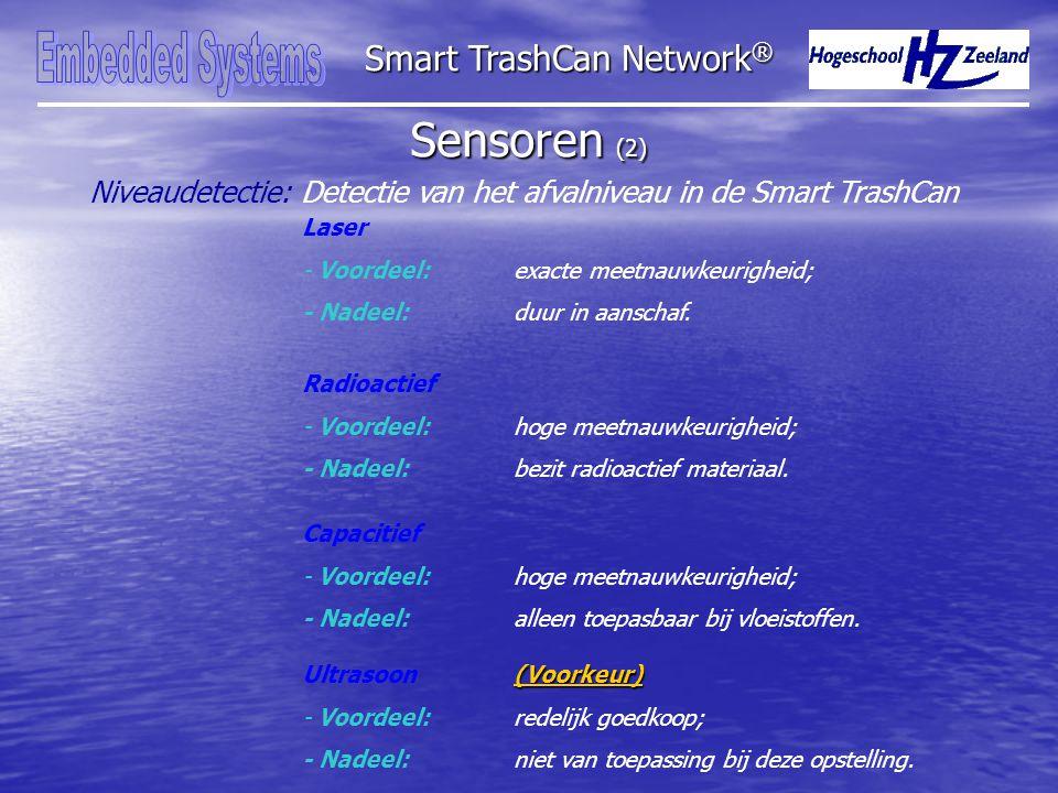 Sensoren (2) Niveaudetectie:Detectie van het afvalniveau in de Smart TrashCan Smart TrashCan Network ® Laser - Voordeel: exacte meetnauwkeurigheid; - Nadeel: duur in aanschaf.