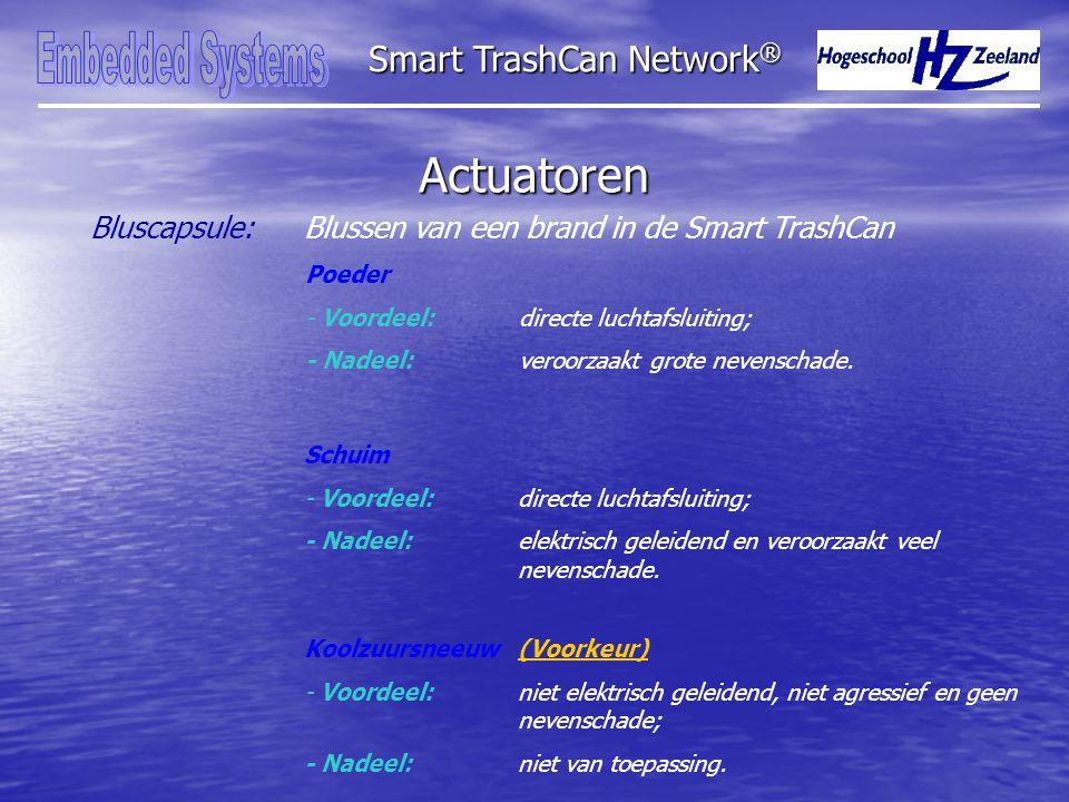Actuatoren Smart TrashCan Network ® Bluscapsule:Blussen van een brand in de Smart TrashCan Poeder - Voordeel: directe luchtafsluiting; - Nadeel: veroorzaakt grote nevenschade.