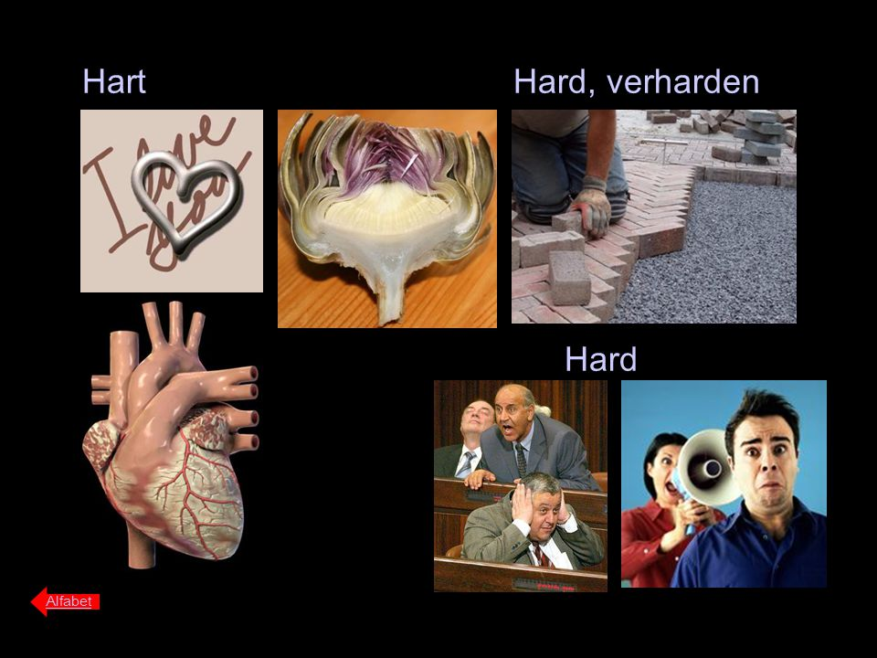 Hart Alfabet Hard, verharden Hard