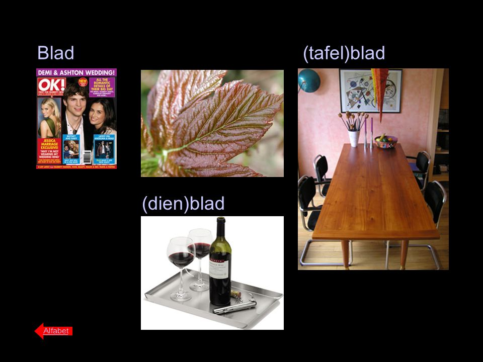 Blad(tafel)blad (dien)blad Alfabet