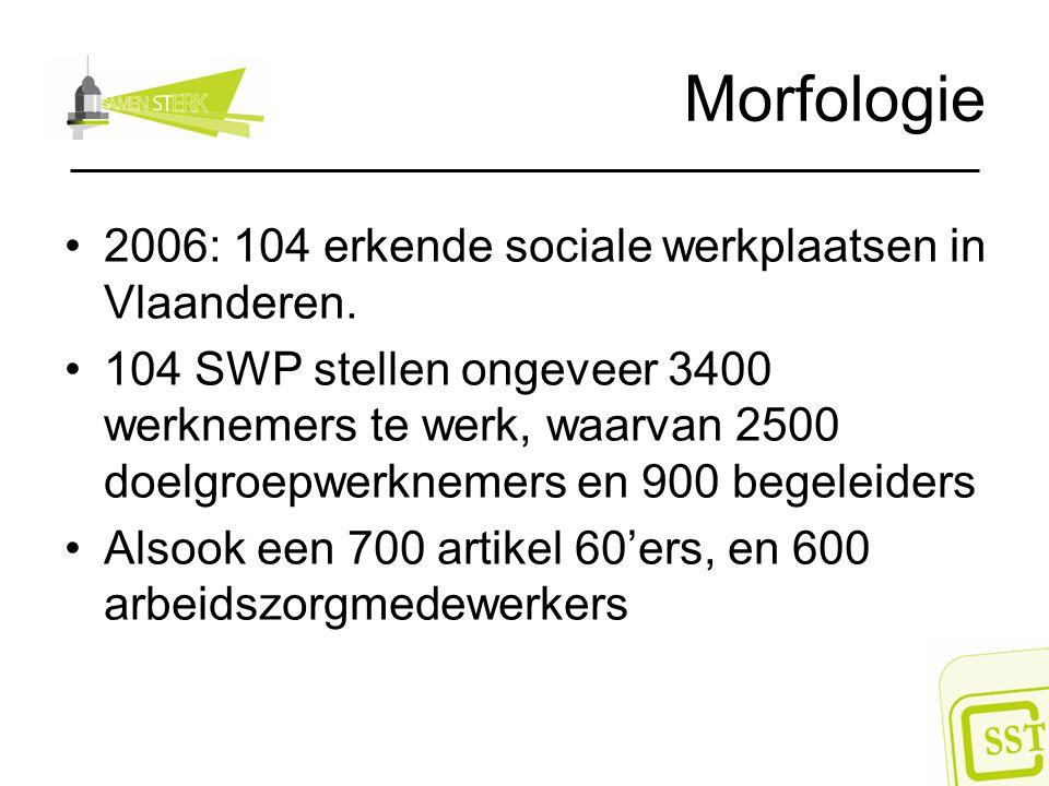 Morfologie 2006: 104 erkende sociale werkplaatsen in Vlaanderen. 104 SWP stellen ongeveer 3400 werknemers te werk, waarvan 2500 doelgroepwerknemers en