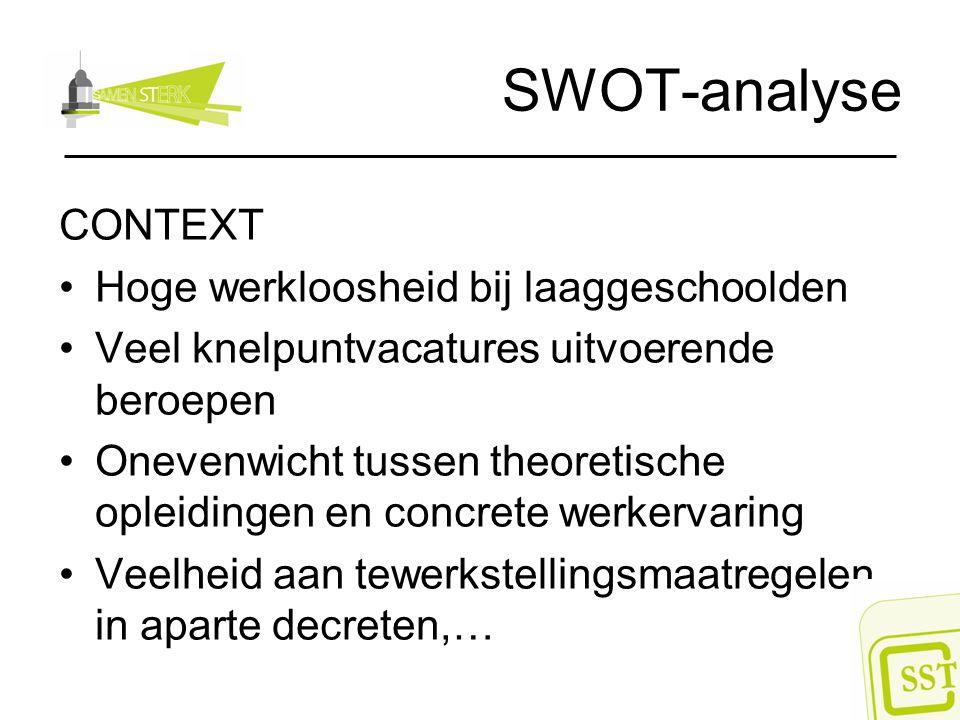 SWOT-analyse CONTEXT Hoge werkloosheid bij laaggeschoolden Veel knelpuntvacatures uitvoerende beroepen Onevenwicht tussen theoretische opleidingen en