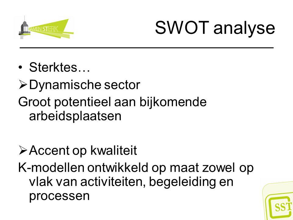 SWOT analyse Sterktes…  Dynamische sector Groot potentieel aan bijkomende arbeidsplaatsen  Accent op kwaliteit K-modellen ontwikkeld op maat zowel o