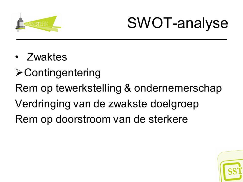 SWOT-analyse Zwaktes  Contingentering Rem op tewerkstelling & ondernemerschap Verdringing van de zwakste doelgroep Rem op doorstroom van de sterkere