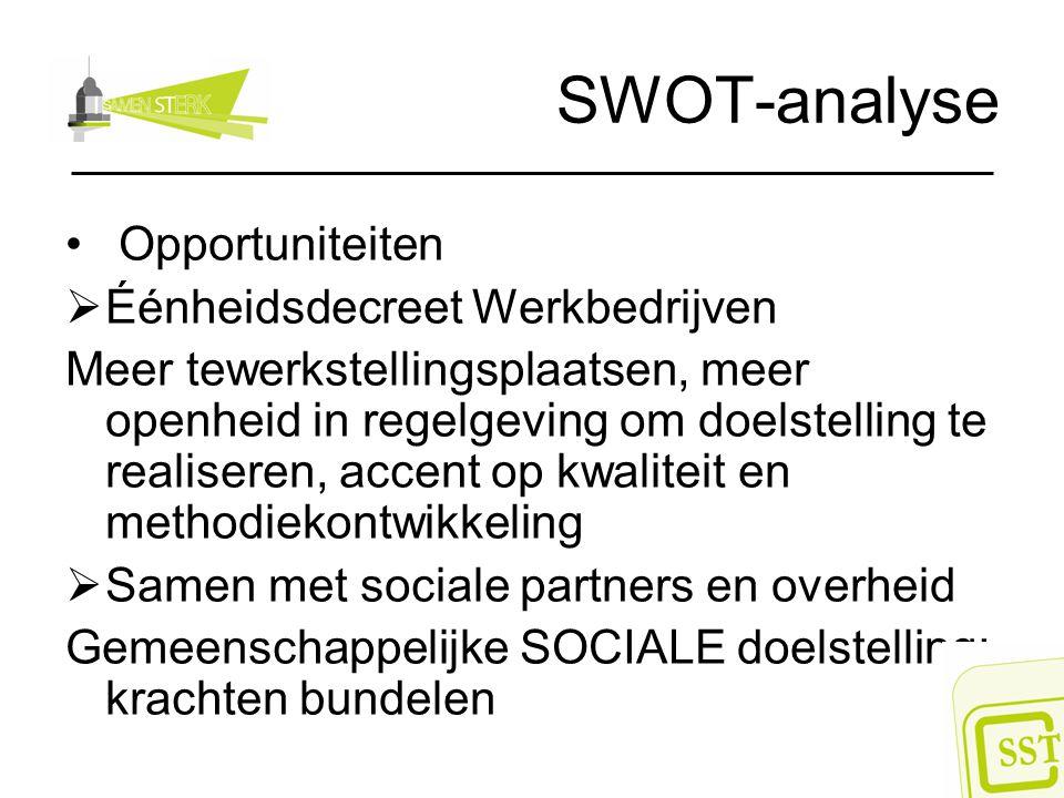 SWOT-analyse Opportuniteiten  Éénheidsdecreet Werkbedrijven Meer tewerkstellingsplaatsen, meer openheid in regelgeving om doelstelling te realiseren,