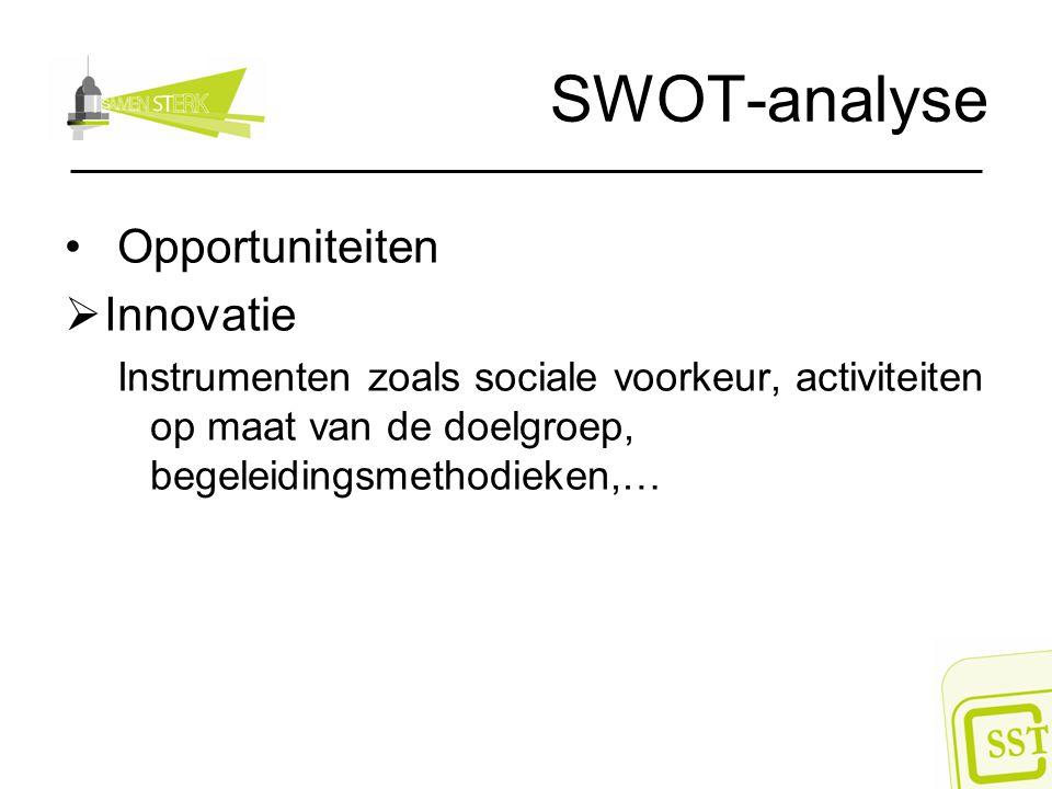 SWOT-analyse Opportuniteiten  Innovatie Instrumenten zoals sociale voorkeur, activiteiten op maat van de doelgroep, begeleidingsmethodieken,…