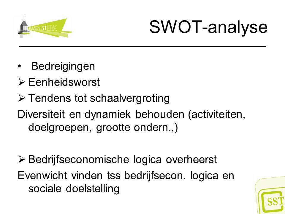 SWOT-analyse Bedreigingen  Eenheidsworst  Tendens tot schaalvergroting Diversiteit en dynamiek behouden (activiteiten, doelgroepen, grootte ondern.,