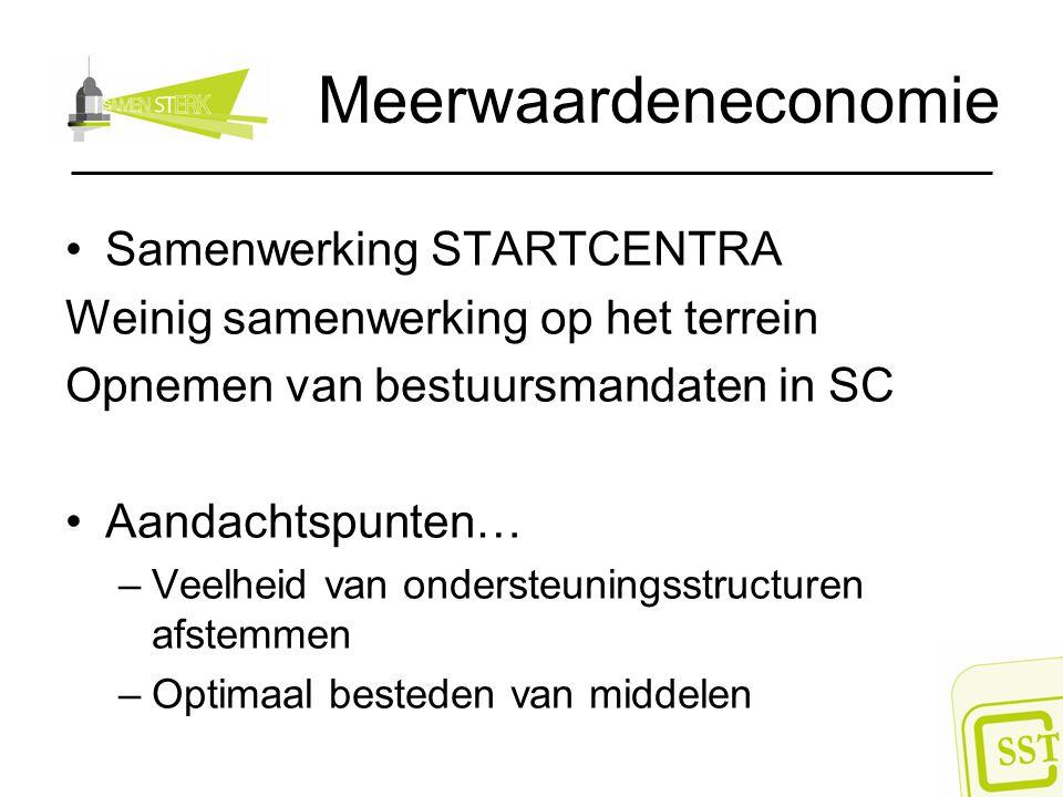 Meerwaardeneconomie Samenwerking STARTCENTRA Weinig samenwerking op het terrein Opnemen van bestuursmandaten in SC Aandachtspunten… –Veelheid van onde