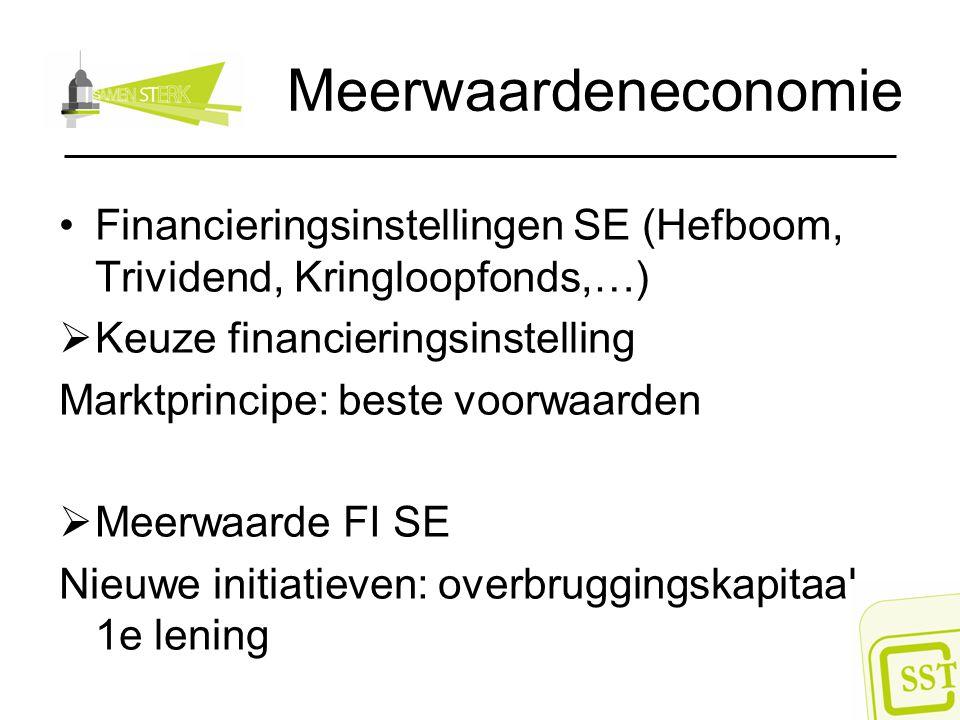 Meerwaardeneconomie Financieringsinstellingen SE (Hefboom, Trividend, Kringloopfonds,…)  Keuze financieringsinstelling Marktprincipe: beste voorwaard