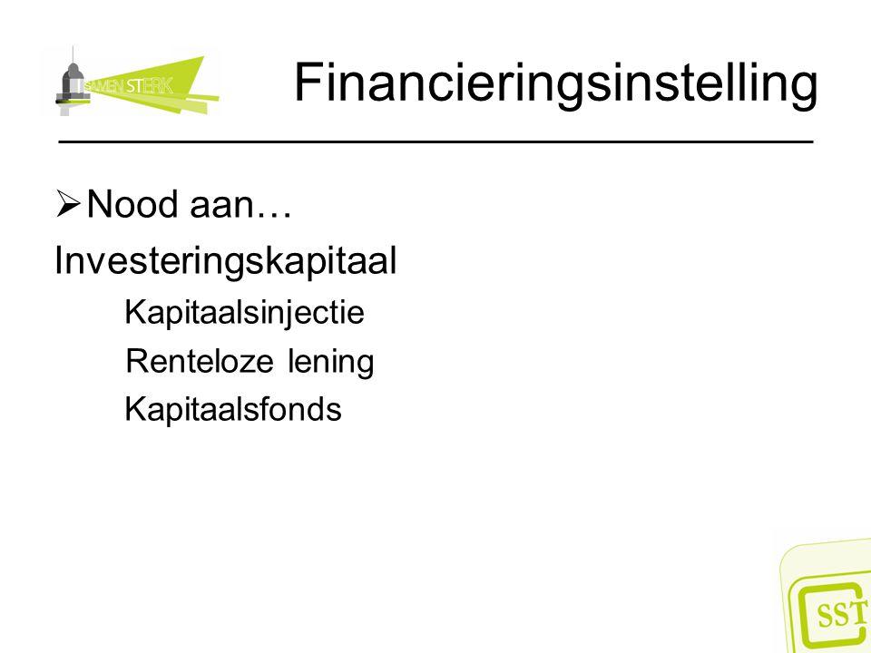 Financieringsinstelling  Nood aan… Investeringskapitaal Kapitaalsinjectie Renteloze lening Kapitaalsfonds
