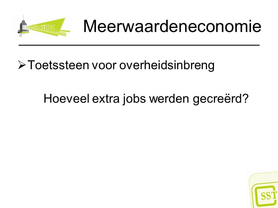 Meerwaardeneconomie  Toetssteen voor overheidsinbreng Hoeveel extra jobs werden gecreërd?
