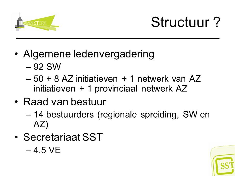 Structuur ? Algemene ledenvergadering –92 SW –50 + 8 AZ initiatieven + 1 netwerk van AZ initiatieven + 1 provinciaal netwerk AZ Raad van bestuur –14 b