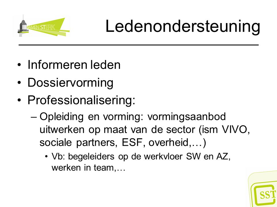 Ledenondersteuning Informeren leden Dossiervorming Professionalisering: –Opleiding en vorming: vormingsaanbod uitwerken op maat van de sector (ism VIV