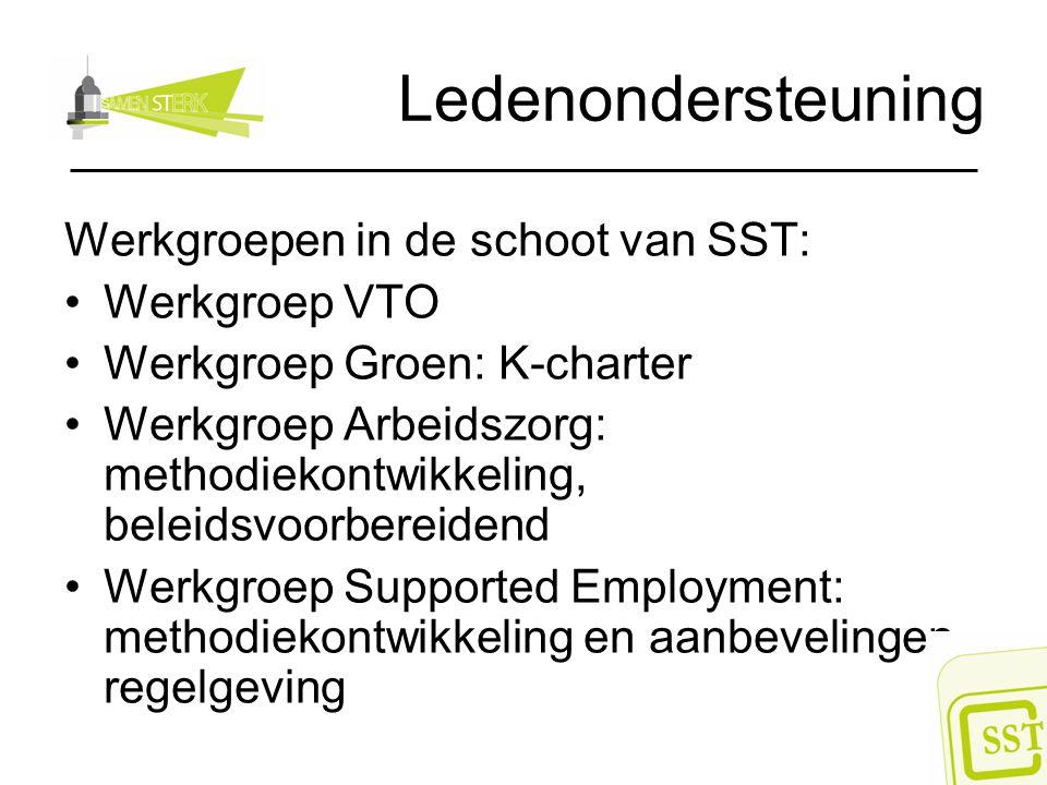 Ledenondersteuning Werkgroepen in de schoot van SST: Werkgroep VTO Werkgroep Groen: K-charter Werkgroep Arbeidszorg: methodiekontwikkeling, beleidsvoo