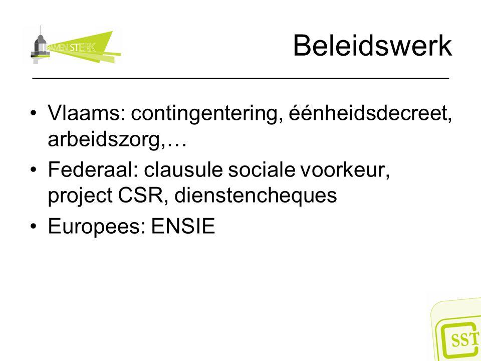 Beleidswerk Vlaams: contingentering, éénheidsdecreet, arbeidszorg,… Federaal: clausule sociale voorkeur, project CSR, dienstencheques Europees: ENSIE