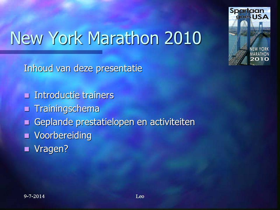 New York Marathon 2010 Pres entatie Voorbereiding