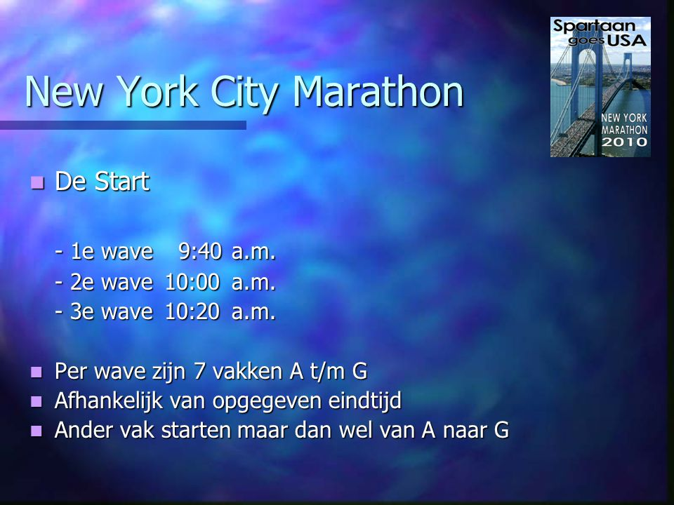 New York City Marathon Voor de start Voor de start - 68 UPS wagens - 1.450 toiletten