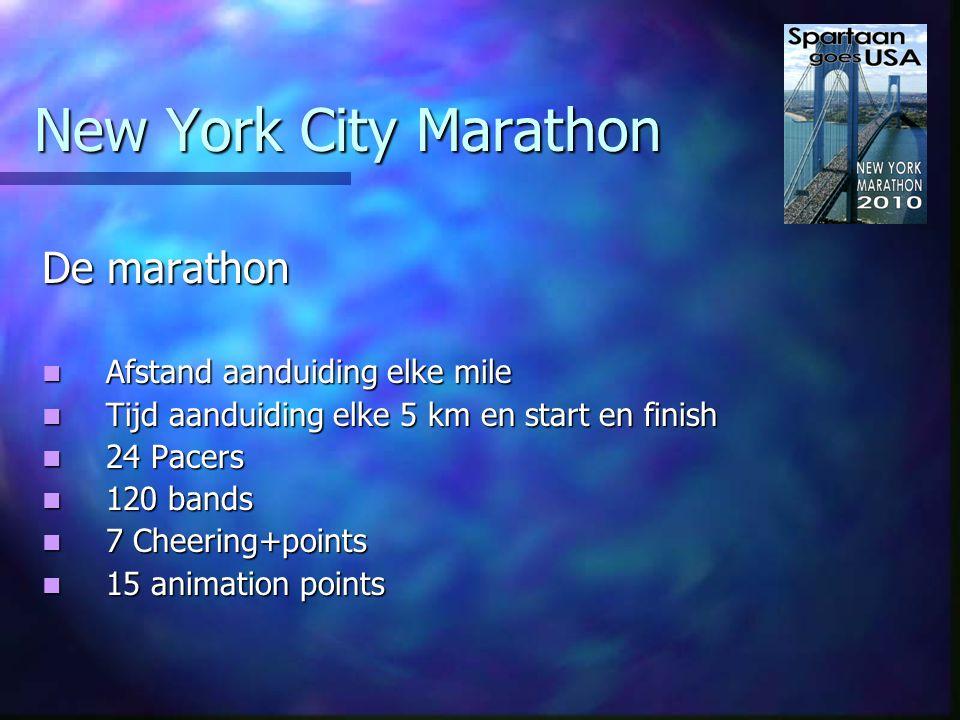 New York City Marathon De verzorging Water vanaf mile 3 elke mile Water vanaf mile 3 elke mile Gatorade Lemon Lime vanaf mile 4 elke 2 mile Gatorade Lemon Lime vanaf mile 4 elke 2 mile Gel bij 18 mile Gel bij 18 mile Toilet en Medical vanaf mile 3 elke mile Toilet en Medical vanaf mile 3 elke mile